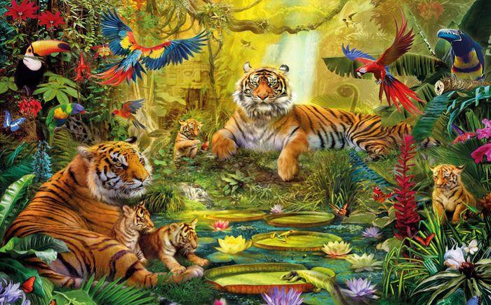 3D Фотообои 3D Фотообои «Сказочные тигры»