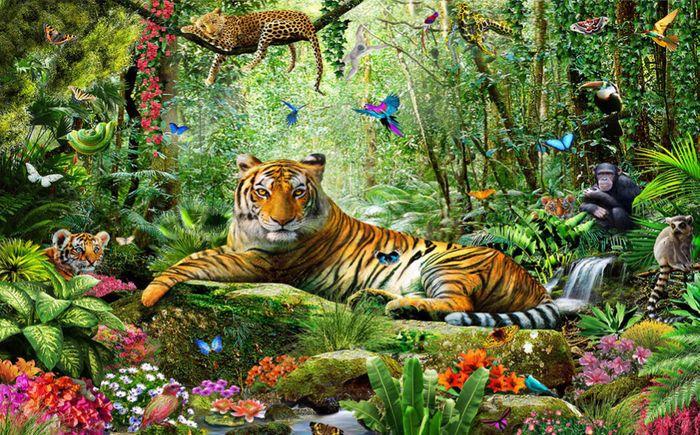 3D Фотообои 3D Фотообои «Отдыхающий тигр»