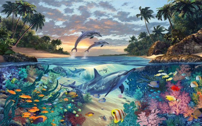 3D Фотообои 3D Фотообои «Дельфины в голубой лагуне»