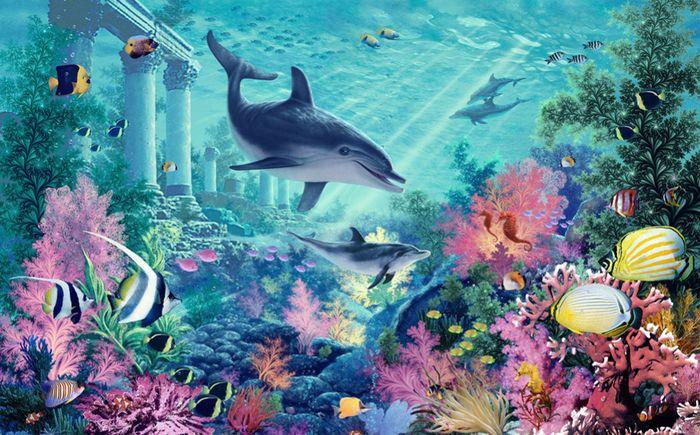 3D Фотообои 3D Фотообои «Сказочное дно океана»