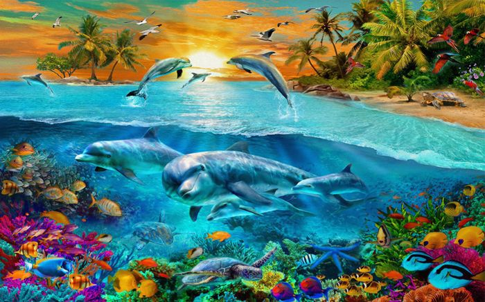 3D Фотообои 3D Фотообои «Закат на сказочном острове»