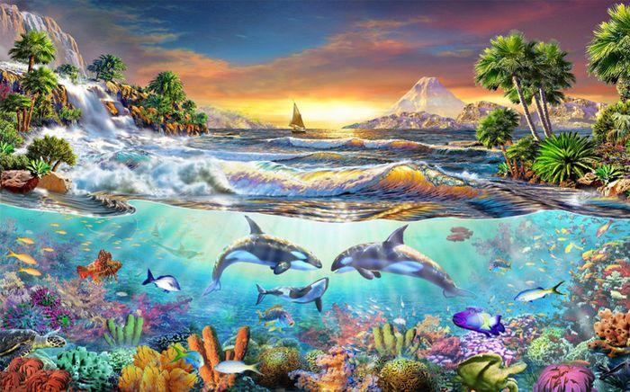 3D Фотообои «Косатки. Сказочные острова»