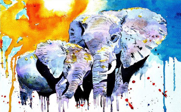 3D Фотообои 3D Фотообои «Слоны. Акварель»