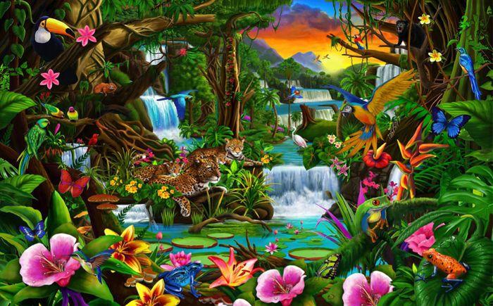 3D Фотообои 3D Фотообои «Тропический цветочный лес»