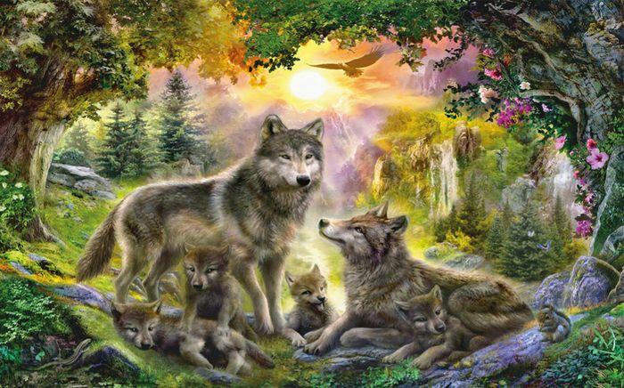 3D Фотообои 3D Фотообои «Волки в лесу»