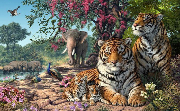 3D Фотообои 3D Фотообои «Тигриное царство»