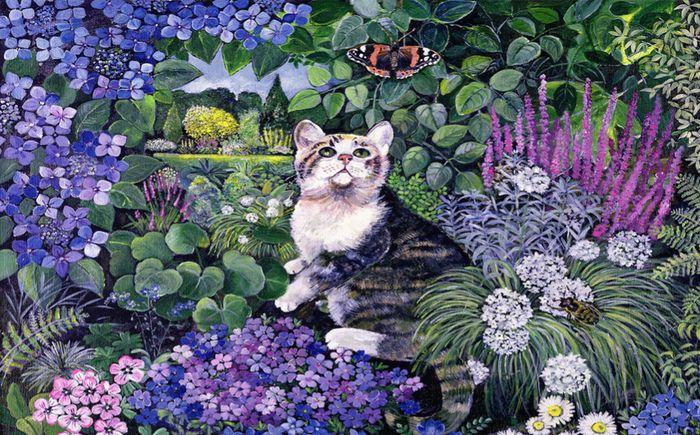 3D Фотообои 3D Фотообои «Кошка в саду»