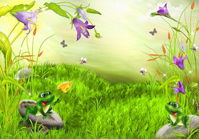 3D Фотообои 3D Фотообои «Лягушата ловят бабочек»