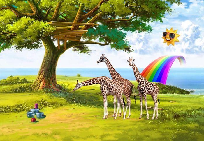 3D Фотообои 3D Фотообои «Жирафы на лужайке»