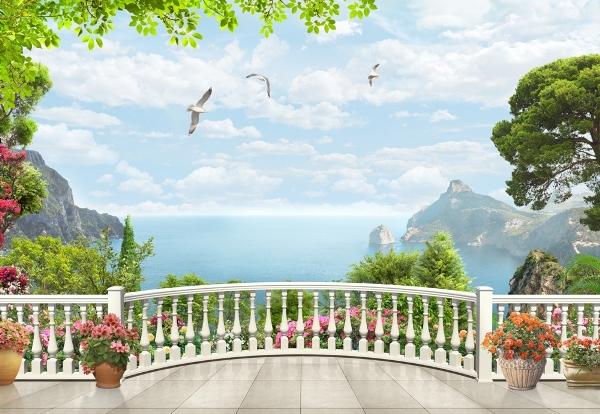 3D Фотообои 3D Фотообои «Вид на залив с белого балкона»