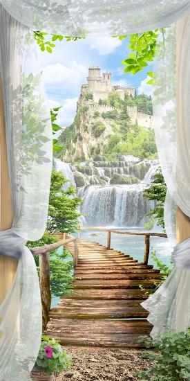3D Фотообои 3D Фотообои «Замок над водопадом»