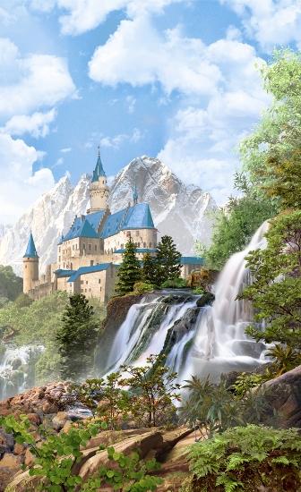 3D Фотообои 3D Фотообои «Замок в скалистых горах»