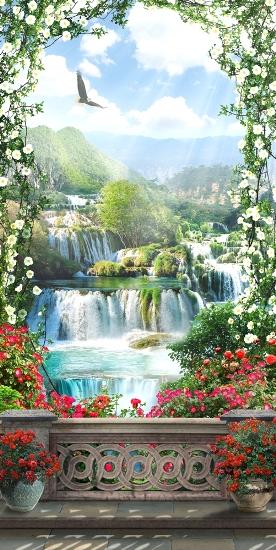 3D Фотообои 3D Фотообои «Арка из цветов с видом на водопады»
