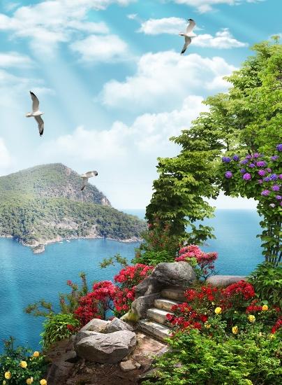 3D Фотообои 3D Фотообои «Цветы на скалистой вершине»