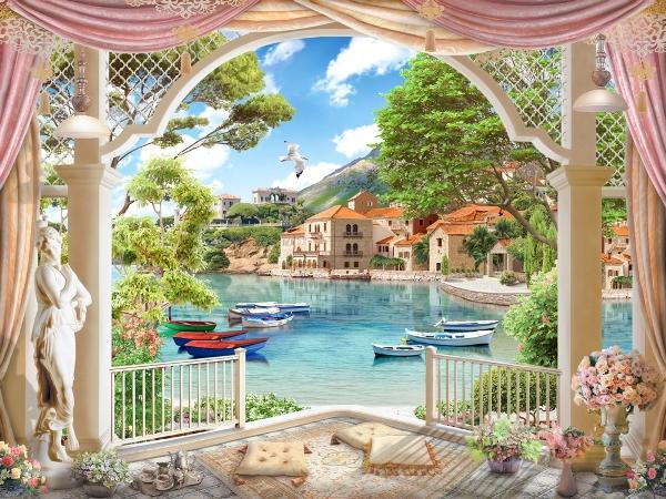 3D Фотообои 3D Фотообои «Веранда с видом на лодки в заливе»