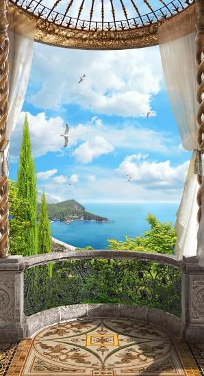 3D Фотообои 3D Фотообои «Балкон с видом на океан»