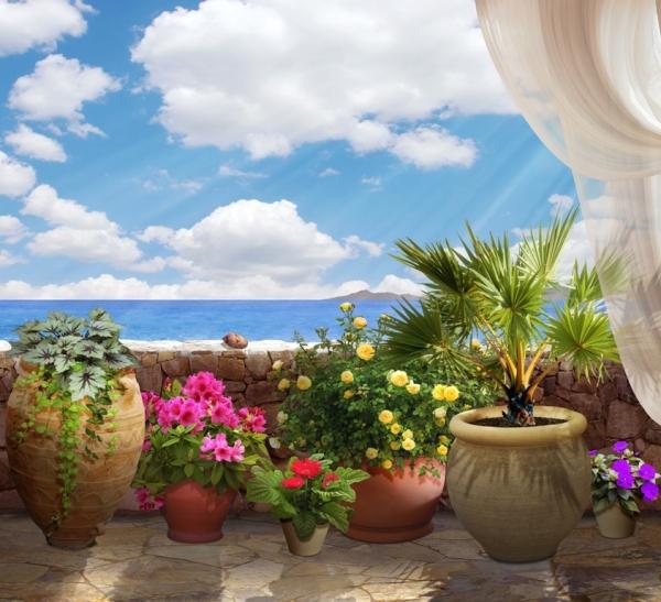 3D Фотообои 3D Фотообои «Горшки с цветами»