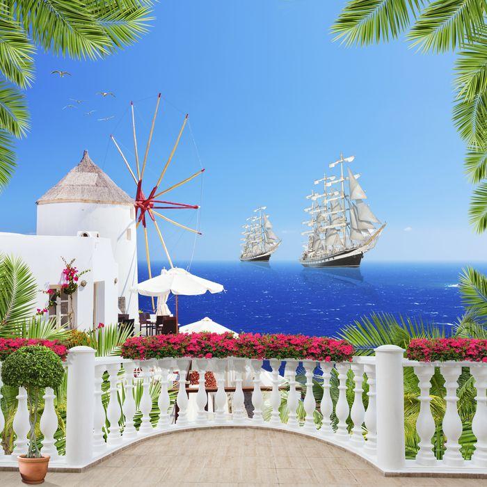 3D Фотообои «Балкон с видом на мельницу и корабли»