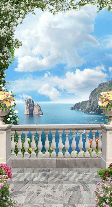 3D Фотообои «Вид с балкона на прибрежные скалы»