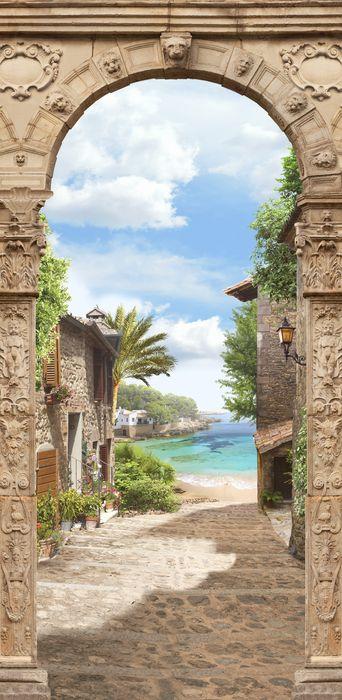 3D Фотообои 3D Фотообои «Арка с видом на тропический городок»