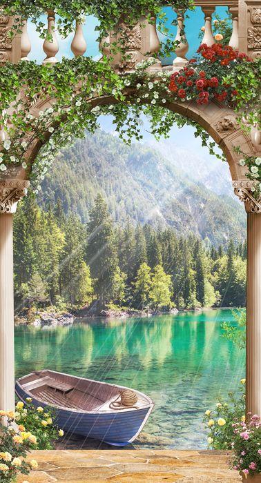 3D Фотообои 3D Фотообои «Лодочка в бирюзовом озере»