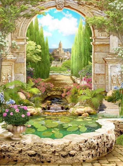 3D Фотообои 3D Фотообои «Прудик в королевском саду»