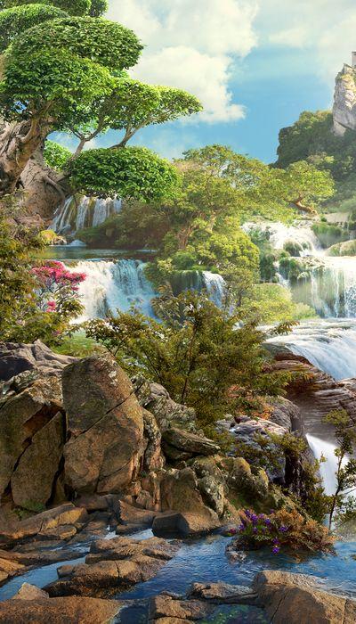 3D Фотообои 3D Фотообои «Бурлящие водопады»