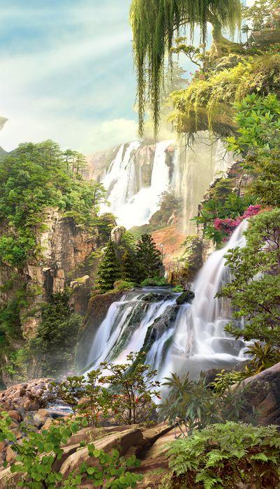 3D Фотообои 3D Фотообои «Сказочные водопады»