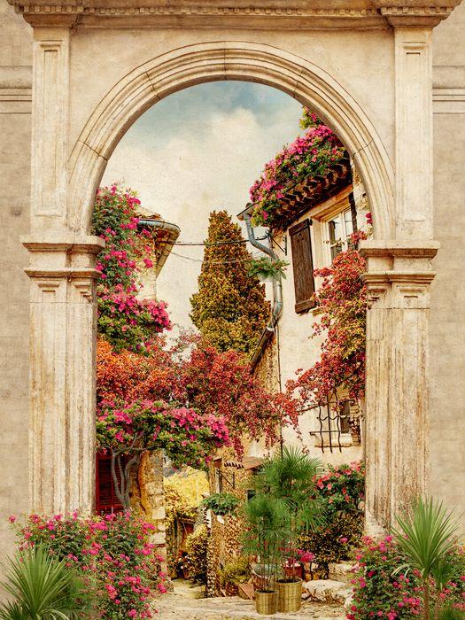 3D Фотообои 3D Фотообои «Арка в цветущем дворике»