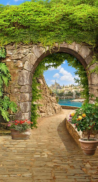 3D Фотообои 3D Фотообои «Зеленая арка в Сицилии»