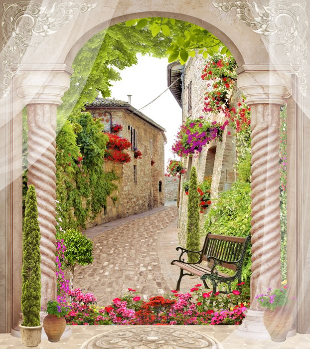 3D Фотообои «Арка с видом на цветущую улочку»