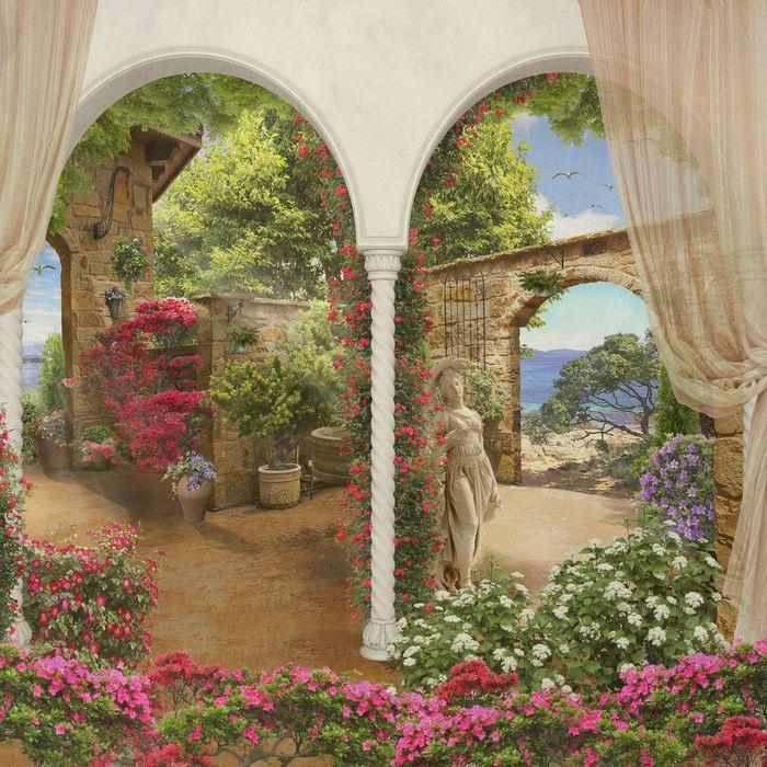 3D Фотообои «Благоухающий дворик»