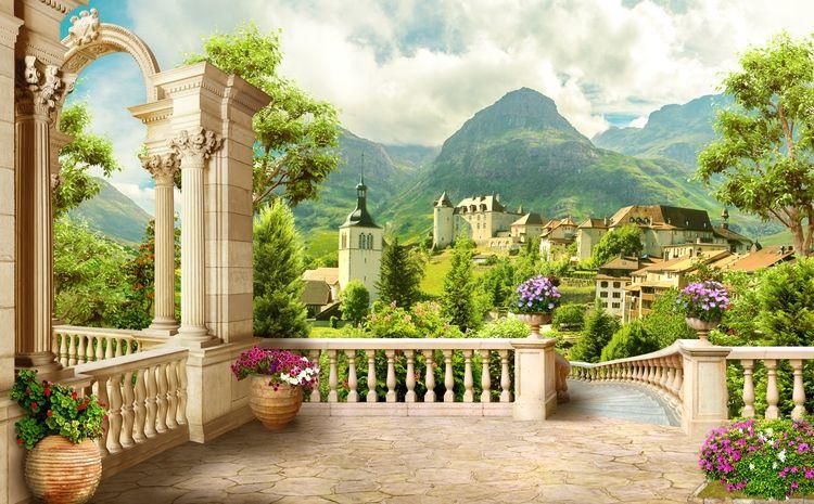 3D Фотообои 3D Фотообои «Античная терраса с видом на владения»