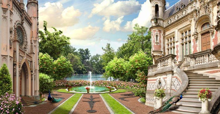 3D Фотообои «Внутренний дворик королевского замка»