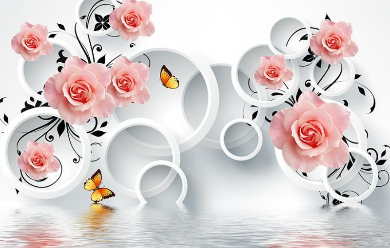 3D Фотообои 3D Фотообои «Бутоны роз над водой»