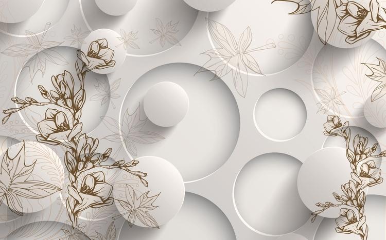 3D Фотообои 3D Фотообои «Объемные круги с цветочным узором»