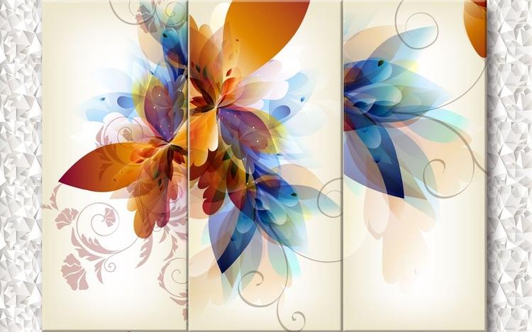3D Фотообои 3D Фотообои «Объемный триптих с абстрактными цветами»
