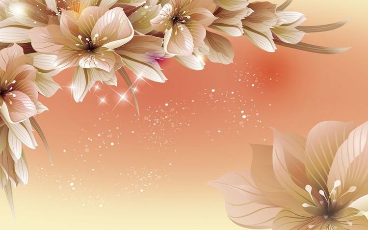 3D Фотообои 3D Фотообои «Персиковая инсталляция с цветами»