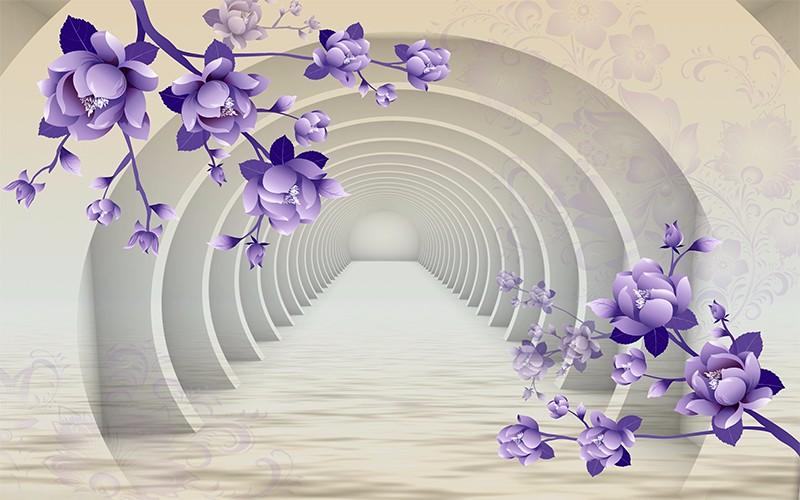 3D Фотообои «Объемные арки с фиолетовыми цветами»