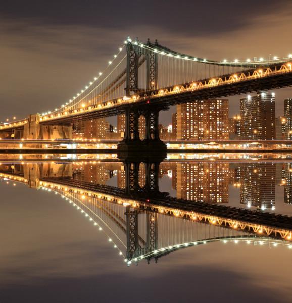 3D Фотообои «Бруклинский мост: отражение в реке Гудзон»
