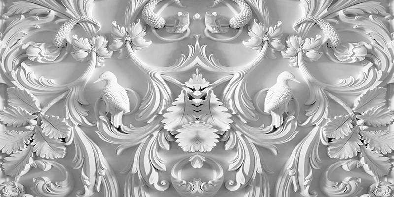 "3D Фотообои ""Барельеф птицы в листьях"" 500х250"