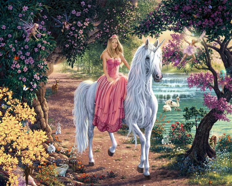 3D Фотообои  «Принцесса верхом на единороге»  250х200