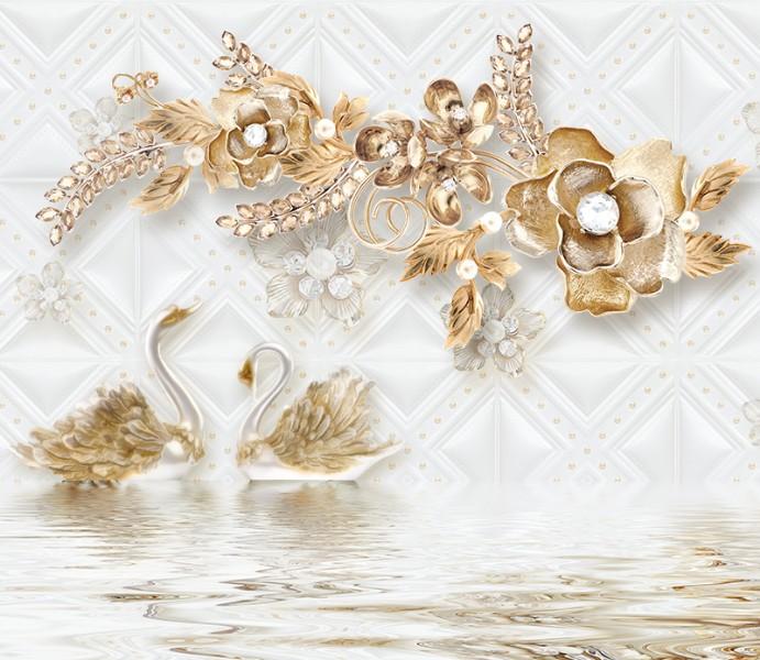 """3D Фотообои """"Роскошные ювелирные цветы с лебедями""""  190х165"""
