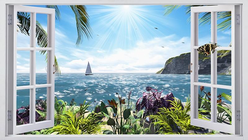 "3D Фотообои ""Вид из окна на море"" 141х80"