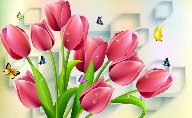 3D Фотообои «Тюльпаны и бабочки»