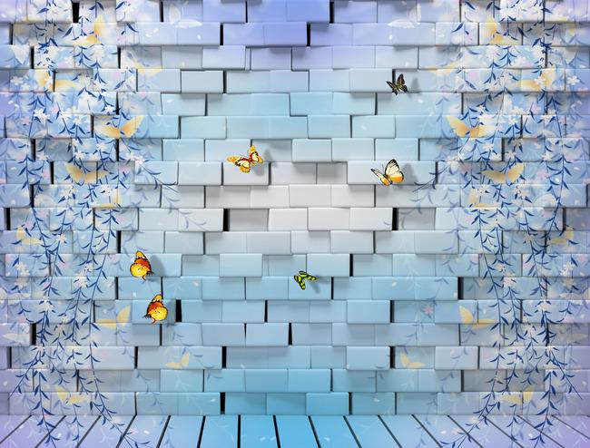 3D Фотообои 3D Фотообои  «Кирпичная стена с бабочками»