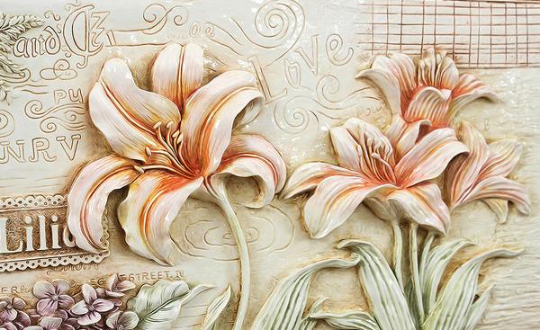 3D Фотообои 3D Фотообои  «Лилии под каменную фреску»