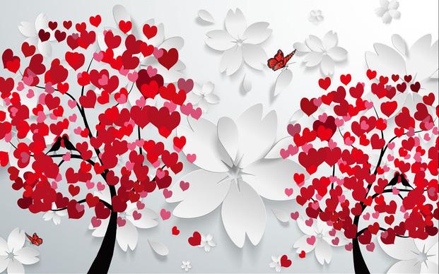3D Фотообои 3D Фотообои  «Деревья любви»