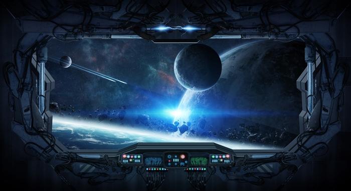 3D Фотообои 3D Фотообои «Вид из иллюминатора звездного корабля»