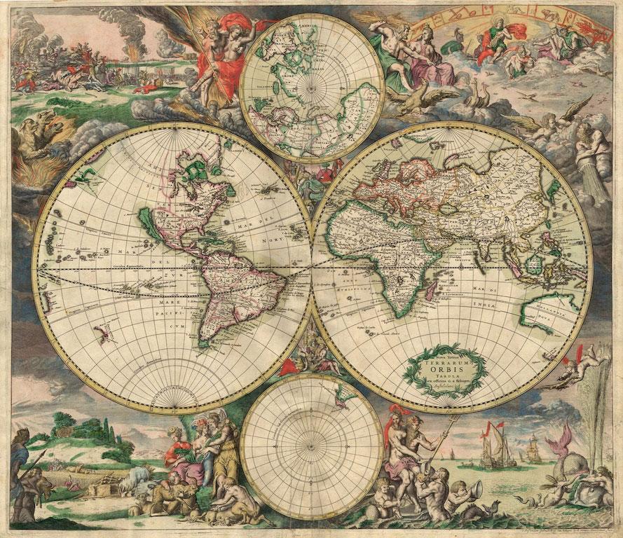 3D Фотообои «Карта мира фреска»